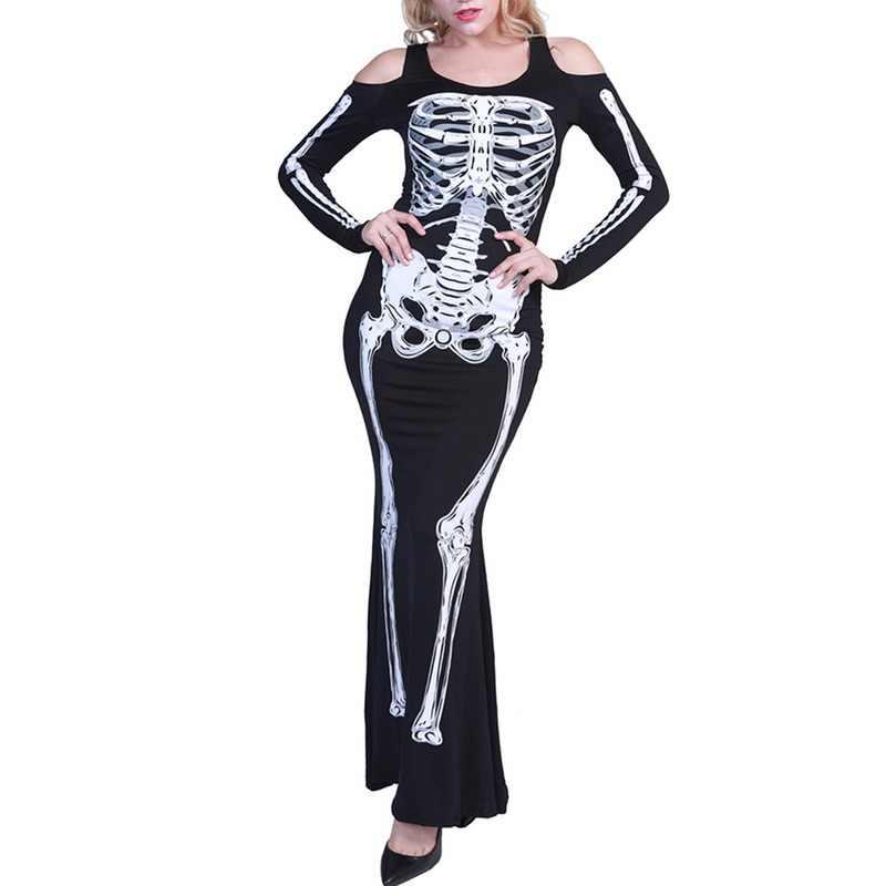 ฮาโลวีน Queen เครื่องแต่งกาย Jumpsuits คอสเพลย์ชุดกระดูกโครงกระดูก 3D ทรัมเป็ตชุดแม่มดแวมไพร์ Black Gothic ผู้ใหญ่ Maxi Vestidos