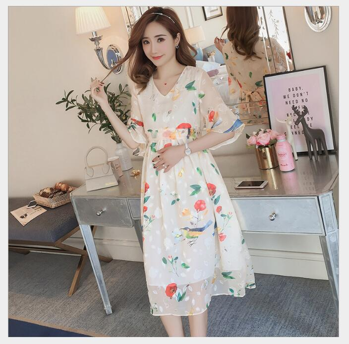 Pregnant Dress Ruffle Floral Maternity Dresses For Photo Shoot Chiffon Maternity Dress Party Clothes Maternity Clothing in Dresses from Mother Kids