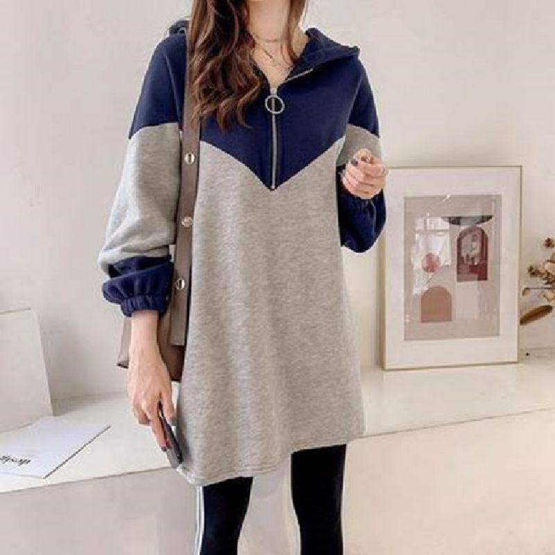 Oversized  Hoodies Sweatshirt Women Casual Fashion Patchwork Long Sleeve Zip Pullovers Mid Long Female Outwear Vogue Sweatshirt