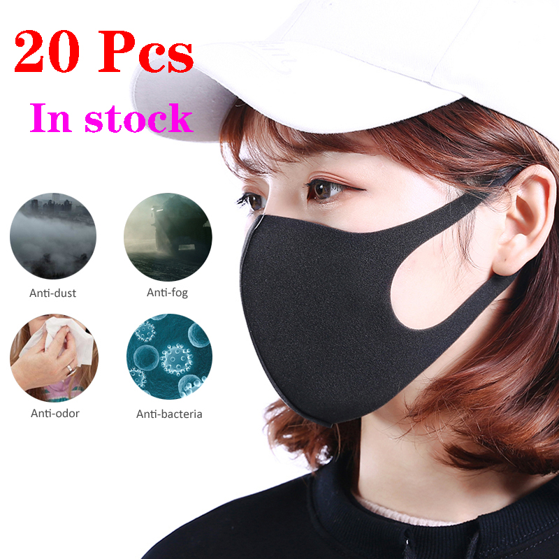 20Pcs Unisex Anti Dust Breathing Mouth Mask Anti-Virus PM2.5 Sponge Face Cover Outdoor Protection Washable Reusable Fast Shiping