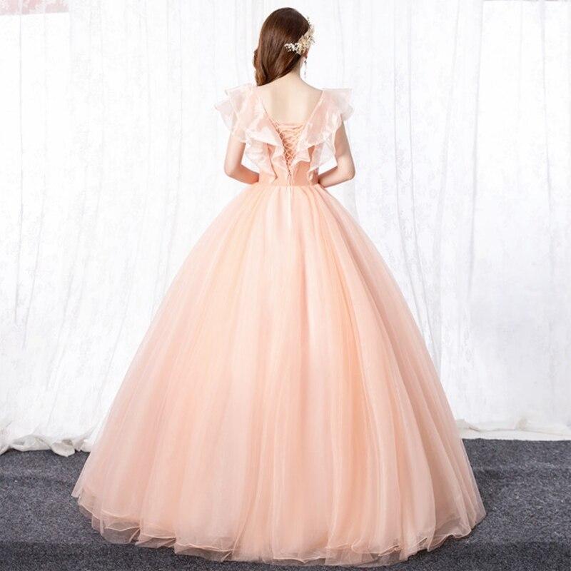 Deep V-Collar  Color Ball Gown Evening Dress  Celebrity Dresses Homecoming FLOWER   Vestido  Graduation  Communion   Quinceanera