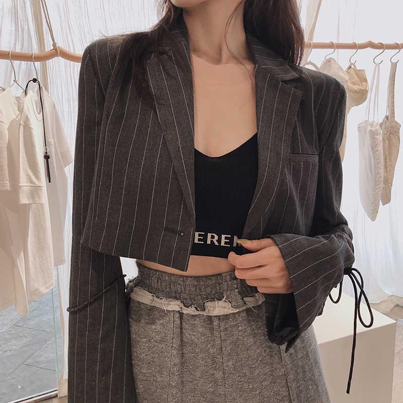 משרד גבירותיי אופנה פסים Slim נשים טרייל ומעילים מסלול נשי 2019 מעיל ציצית מזדמן דק בלייזר לנשים S0114