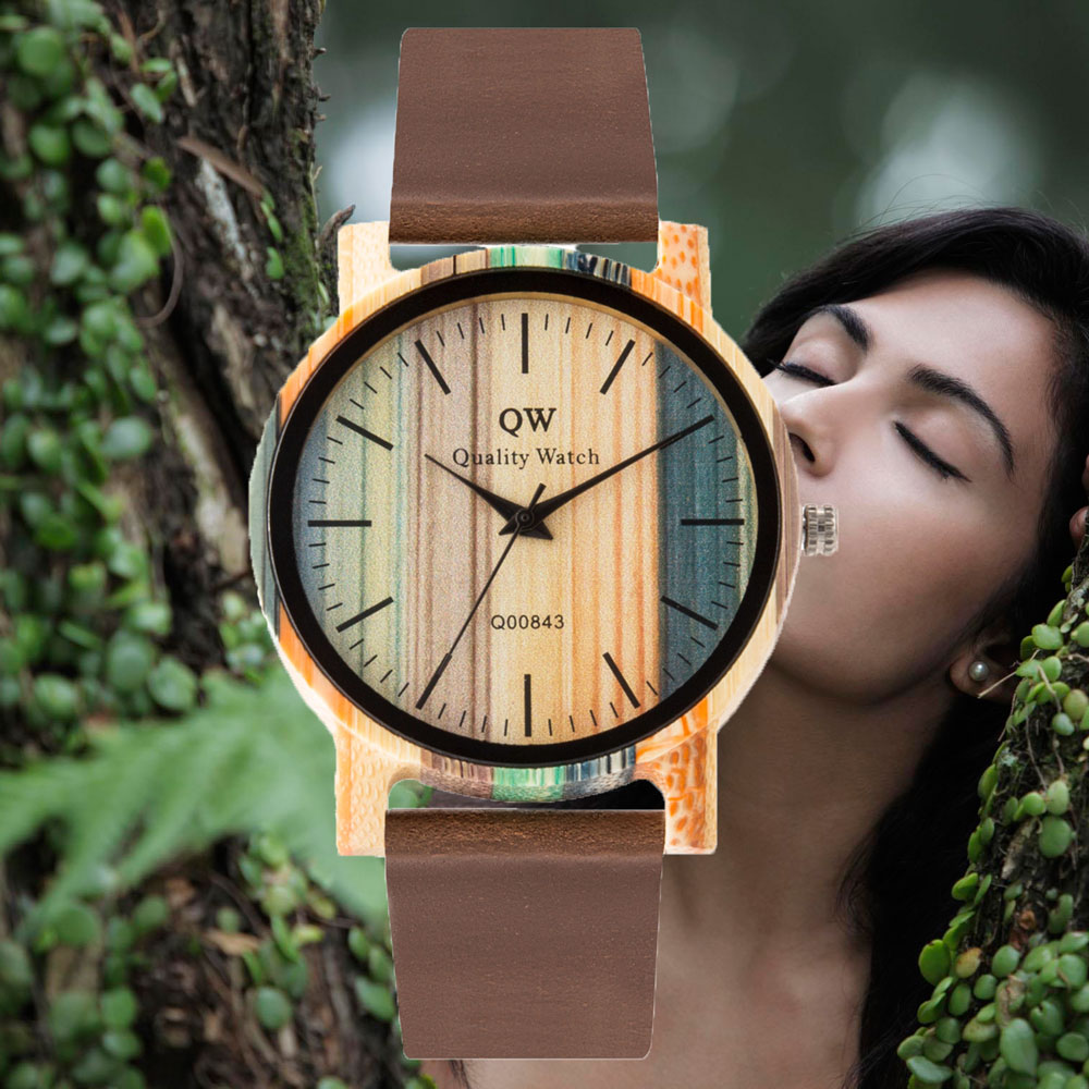 QW Sports Wood Bamboo Women Girls Leather Color Fashion Hot Selling Brand  Wholesale Custom Watch