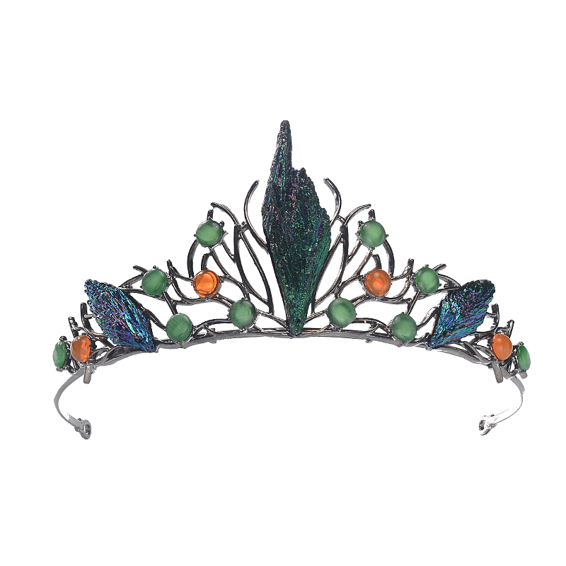 Image 5 - HIMSTORYm Unique Blue Green Cosplay Party Forest Elf Branch Hair Crown Women Peacock Evening Pageant Jewelry Hair Accessories-in Hair Jewelry from Jewelry & Accessories