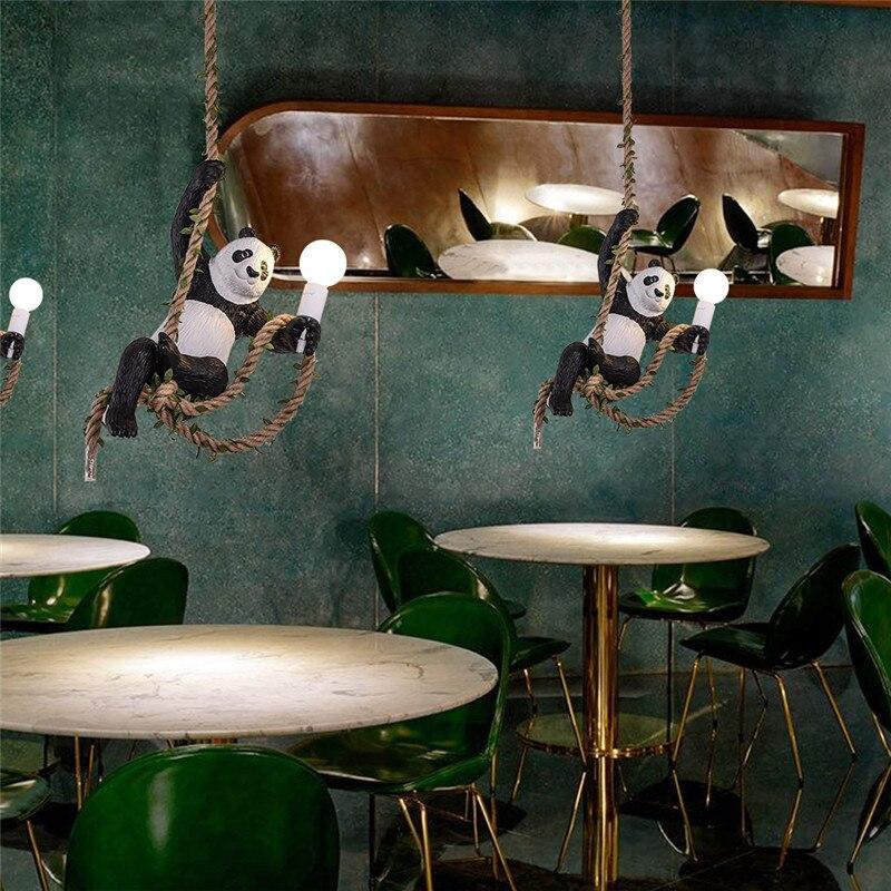 Vintage Resin Panda Pendant Lights Loft Industrial  For Living Room Lamps Art Parlor Study Room Led Lights Lustre With E27 Led B