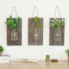 Hydroponic Plant Glass Vase Pastoral Wall Hanging Wooden Flower Arrangement Floral Light Home Balcony Decoration