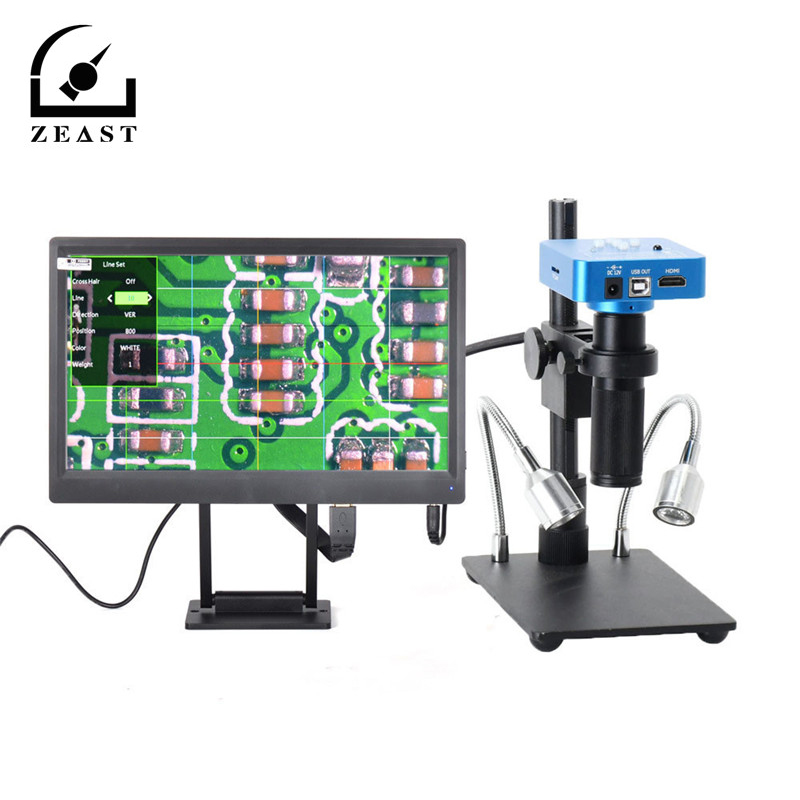 HD 34MP 2K <font><b>1080P</b></font> 60FPS HDMI <font><b>USB</b></font> Industrial Electronic Digital Video Soldering <font><b>Microscope</b></font> Camera Magnifier for Phone Reparing image