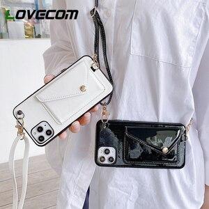 Чехол для телефона LOVECOM с отделением для карт для iPhone 11 Pro Max XR XS Max 7 8 6 6S Plus X, кожаная однотонная задняя крышка, чехол, ремешок, подарок