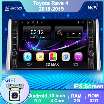 OKNAVI 10 Car Multimedia Video Player For Toyota RAV4 RAV 4 2018 2019 GPS Navigation Android 9.0 2 Din Radio With Camera MIC image