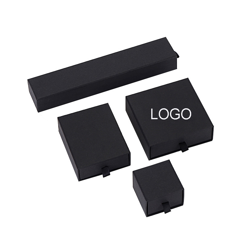 Dropshipping Luxury Black Paper Jewelry Box With Sponge Drawer Style For Bracelet Bangle Box Jewelry Gift Packaging Print Logo