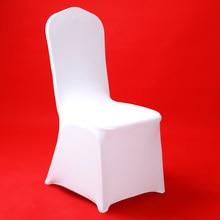 50/100 Uds Hotel blanco funda para silla de boda fiesta Banquete de cena Oficina Silla de boda Spandex cubierta