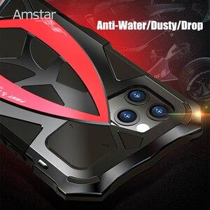 Image 2 - Amstar 360 pełna ochronna obudowa pancerza dla iPhone 11 Pro Max metalowa rama silikonowa, odporna na wstrząsy pokrywy skrzynka dla iPhone X XS Max XR