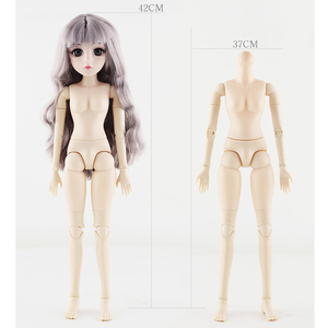 Image 3 - 42 Cm Bjd Doll 24 Ball Jointed Doll DIY Naked Body Curly Straight Hair Girls Gift with 3D Eyes Head Dolls Toys for Girls