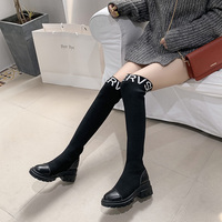 2019 Elastic Over The Knee Boots Women Socks Black Boots Long Thigh High Slim Knitting Boots Sneakers Platform Designer Shoes