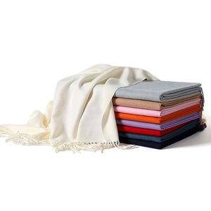 Image 5 - 20 צבע אישית מוצק טאסל לנשים צעיף רקמת Custom קשמיר חורף ליידי בנות צעיף צעיף הצהרת מתנה