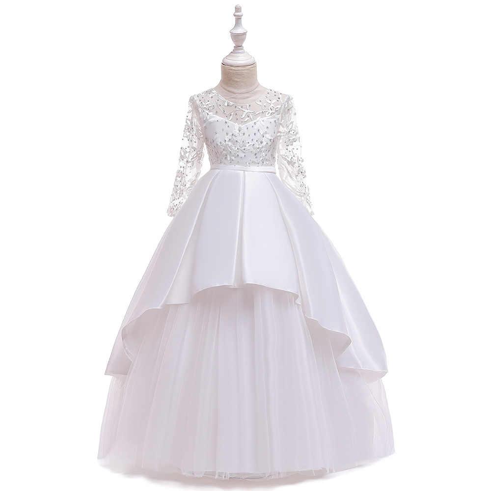 Vestido de noche de pasarela para niños ropa de actuación de piano Vestido de manga larga falda de estilo occidental princesa hilo esponjoso
