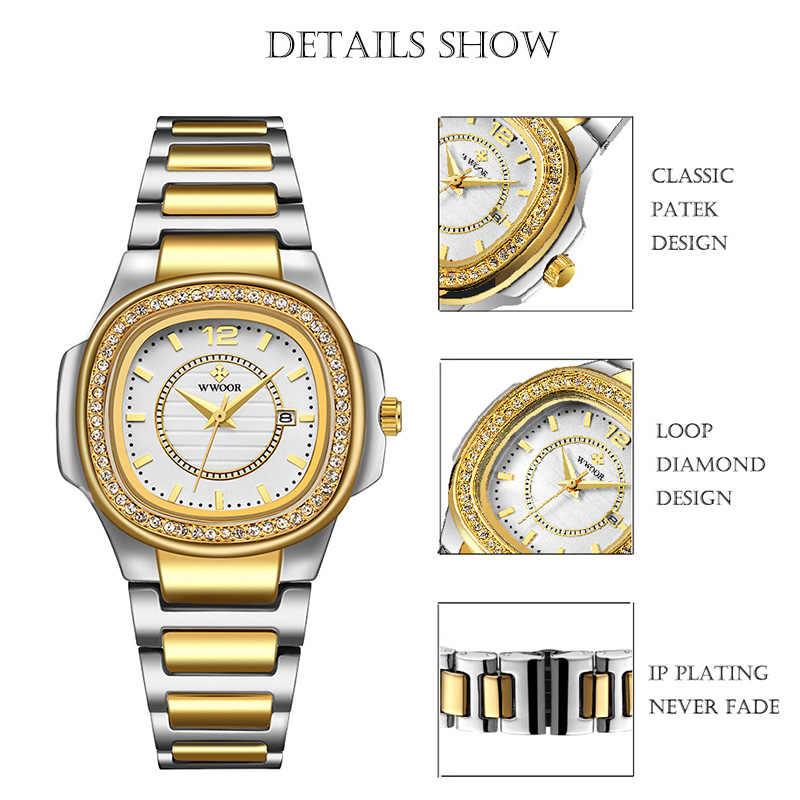WWOOR נשים שעונים 2020 אופנה יהלומי צמיד שעון יוקרה מותג זהב גבירותיי קוורץ שעון יד מתנות לנשים Montre Femme