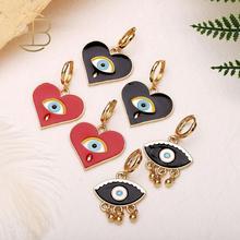2020 Vintage Dripping Black Red Evil Eye Tears Pattern Heart Shape Short Tassel Drop Earrings For Women Female Bohemian Earring