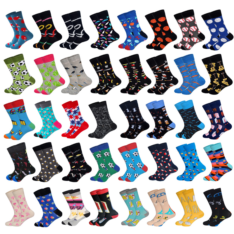 LIONZONE Men Cotton Socks Sports&Stationery Series Football Basketball Rope Puzzle Suit Tie Men&Women Unisex Happy Socks