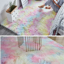 New Rainbow Colors Carpets Tie Dyeing Plush Soft Carpets For Bedroom Living Room Anti-slip