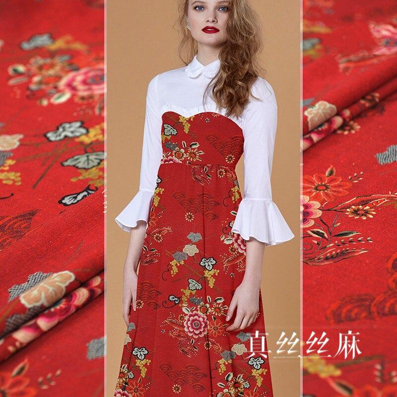 Tissu en soie naturelle ramie haute soie lin mélangé tissu imprimé bricolage chemise robe tissu rétro spécial en gros