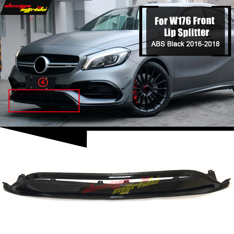 W176 Front Bumper Front Lip Splitters 2 pcs ABS black For Mercedes Benz A Class A180 A200 A250 A45 Look Front Lip Bumper 2016 18|Bumpers| |  - title=