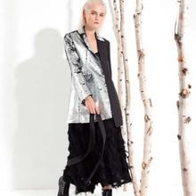 LANMREM 2020 Neue Mode Frühling Frauen Kleidung drehen unten Kragen Voll Ärmeln Kontrast Farben Pailletten Weibliche Blazer JI99