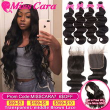 Miss Cara Remy Body Wave With 4X4 Closure Brazilian Hair Weave Bundles With Closure 100% Human Hair 3/4 Bundles With Closure(China)