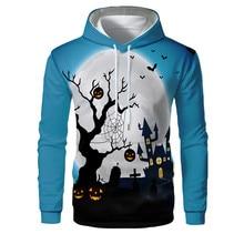 Autumn 2019 Men Long Sleeve Vintage Hoodies Halloween Pumpkin Style Streetwear Loose Sweatshirts 3D Castle Print Casual