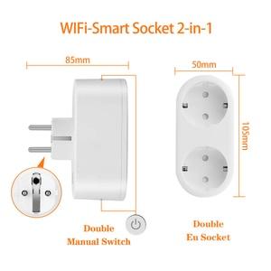 Image 3 - Wifi חכם שקע 2 ב 1 חכם תקע 16A האיחוד האירופי Outlet תקע צג אנרגיה Saver עובד עם Google בית מיני Alexa
