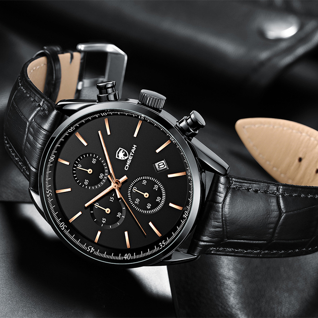 2021 New Men Watch CHEETAH Waterproof Quartz Men Watches Chronograph Sport Wristwatch Leather Business Male Clock Watch With Box 6