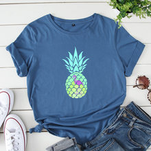 Funny Pineapple Flamingo Print Women T-shirt 2020 New Cartoon Harajuku Top Oversized Cotton Basic Tee Shirt Graphic Clothes(China)