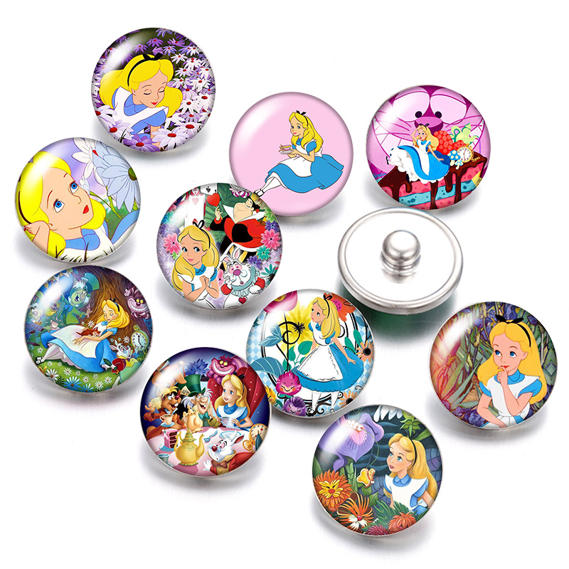 Princesses Alice Belle Shimmer Shine 18mm Snap Buttons 10pcs Mixed Round Photo Glass Cabochon Style For Snap Button Jewelry