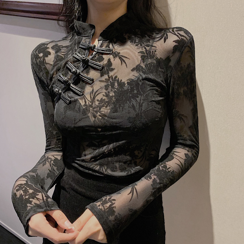 Girls Transparent Lace Blouses Shirts Tees Female Chinese Style Turtleneck Vintage Full Sleeve Black Blouses Tops For Women