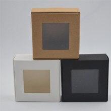 50 stks/partij Kleine Papier Doos witte geschenkdoos Verpakking Party Favor Doos Bruin Kraft Kartonnen Doos zwarte Kartonnen verpakkingen venster dozen
