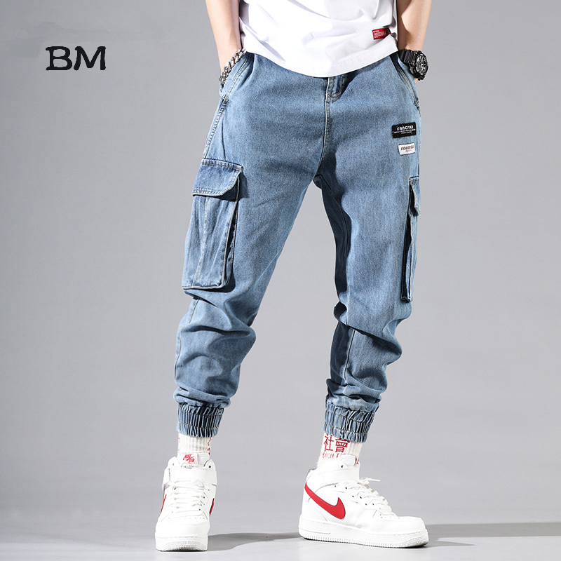 Fashions Jeans Men Dsq Streetwear Denim Korean Style Oversized Clothes 5XL Hip Hop Blue Harem Jeans 2019 Kpop Joggers Man