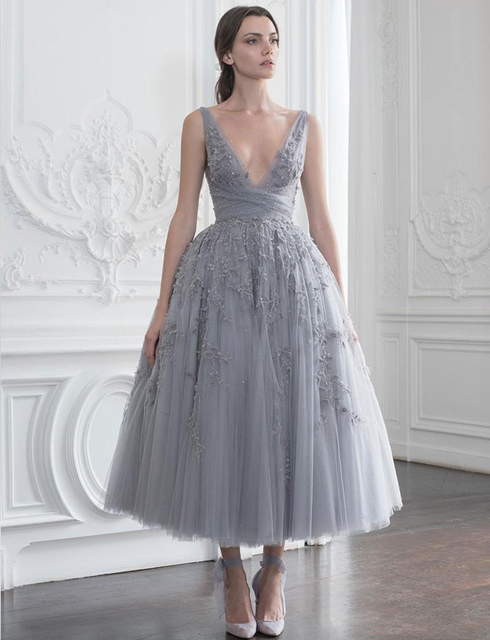 Женское вечернее платье до щиколотки серое элегантное винтажное