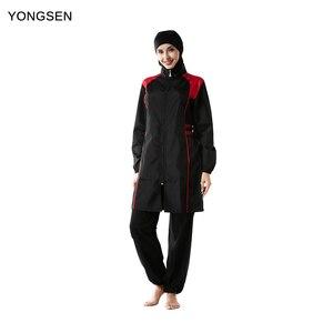 Image 1 - YONGSEN Mulheres Muçulmanos Swimwear Calças Encapuzados Burkinis Maiô Terno Esporte Moda Islâmica Hijab Três peça Elegante Beachwear