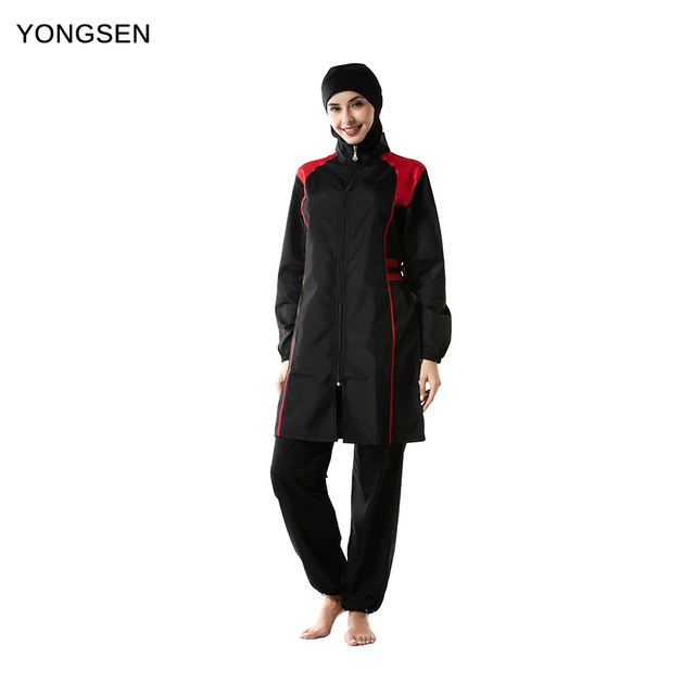 YONGSEN Mulheres Muçulmanos Swimwear Calças Encapuzados Burkinis Maiô Terno Esporte Moda Islâmica Hijab Três peça Elegante Beachwear
