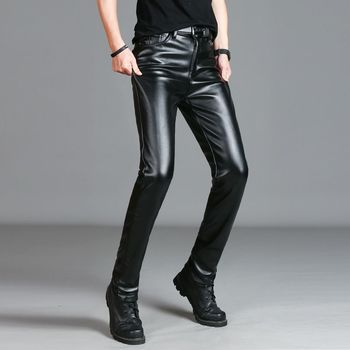 Men`s Faux Leather Pants Stretchy Black Slim Fit Motorcycle Business Casual Velvet Lined PU Trousers For Male