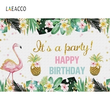 Laeacco Birthday Photophone Photo Background For Baby Backdrops For Photography Tropical Flowers Leaves Pineapple Flamingo Child customized art fabric candy rack photography backdrops for child studios drops newborns background 5x7ft