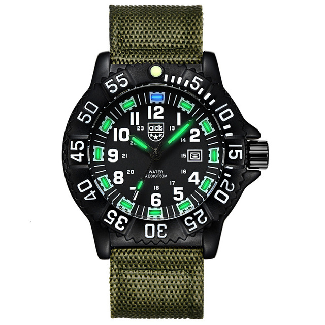 Men Outdoor Sport Watches High Quality Quartz Movement with Luminous Hands armygreen Nylon watchbands  Waterproof  Military | Fotoflaco.net