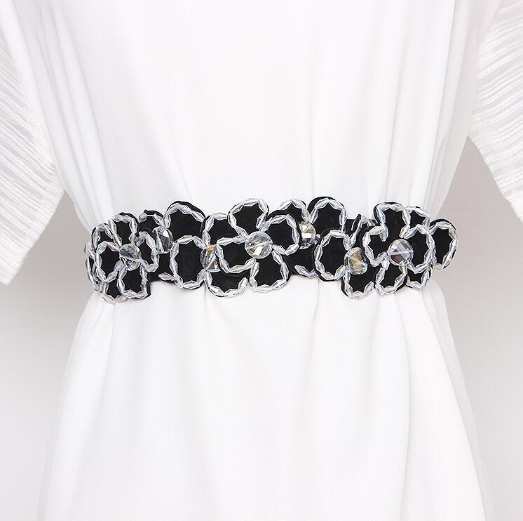 Women's Runway Fashion Rhinestone Beaded Elastic Cummerbunds Female Dress Corsets Waistband Belts Decoration Wide Belt R2857