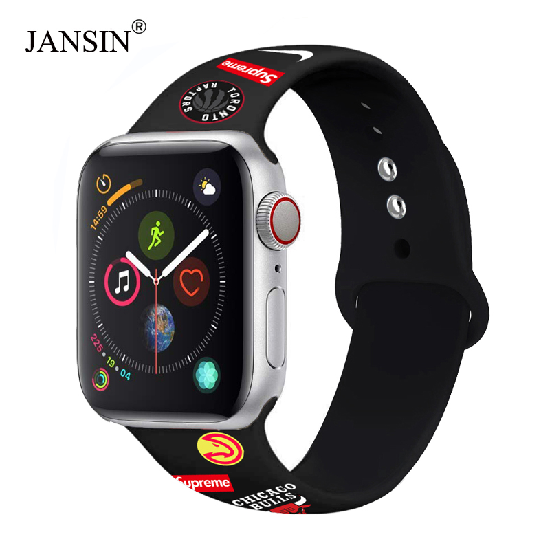 Brand pattern Style Sport Silicone Band for Apple Watch 38mm 42mm 40mm 44mm Bracelet Woman Men strap for iwatch Series 5 4 3 2 1 in Watchbands from Watches