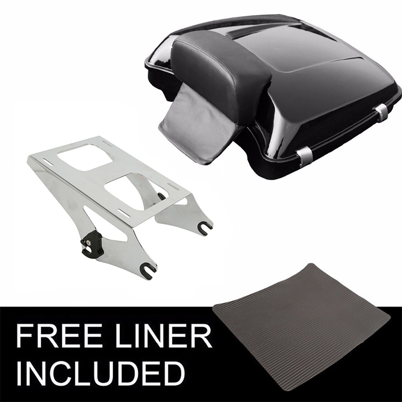 Black Detachable Two Up Tour Pak Pack Mounting Luggage Rack Fit Harley Touring Electra Glide Road King Street Glide Road Glide 2014-2020