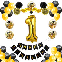 1st 2th Birthday Boy Girl Balloons Black Gold First Second Birthday Decoration Two One 1th 2nd Year Birthday Kids Party Decor(China)