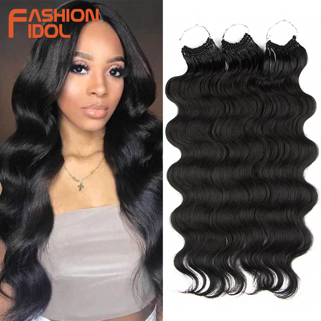 FASHION IDOL Body Wave Crochet Hair 22Inch Soft Long Synthetic Hair Goddess Braids Natural Wavy Ombre 613 Blonde Hair Extensions