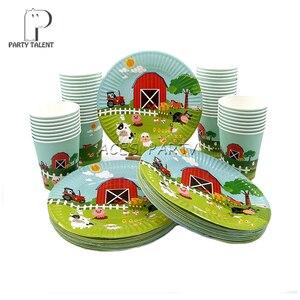 Image 4 - Meninos crianças fazenda tema animal toalha de mesa capa festa de aniversário utensílios de mesa balão caixa de doces placa de bandeira copo fontes de festa