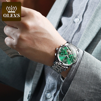OLEVS Automatic Mechanical Men Watches Stainless Steel Waterproof Date Week Green Fashio Classic Wrist Watches Reloj Hombre 4