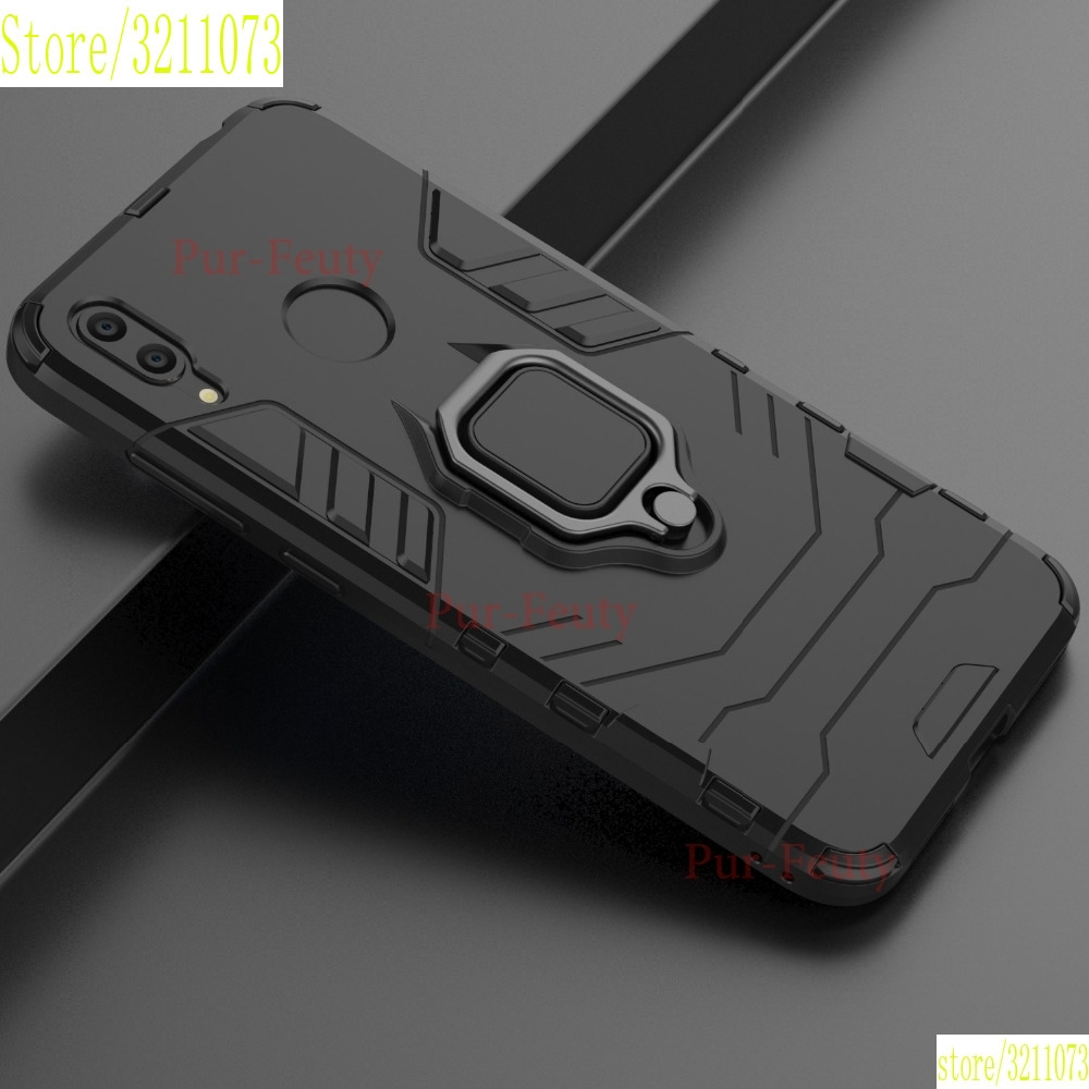 Case For Huawei Y7 2019 DUB LX1 LX2 L22 Silicone TPU + Hard PC Ring Stand Hybrid Armor Phone Back Cover For Huawei Y7 2019 Etui image